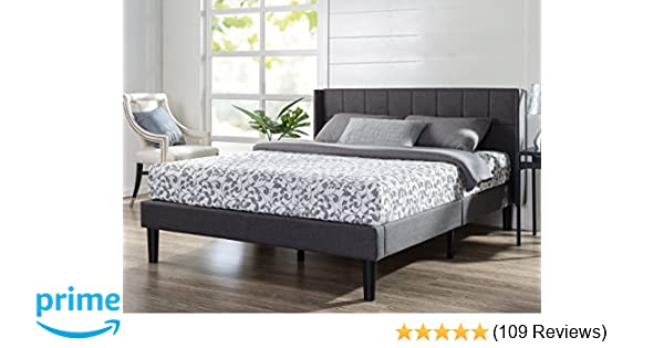 6155107e688 Amazon.com  Zinus Dori Upholstered Square Stitched Wingback Platform Bed    Mattress Foundation   Easy Assembly   Strong Wood Slat Support
