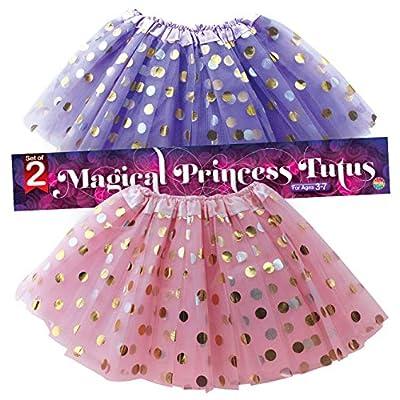 Polka Dot Tutu Skirt for Toddler Girls/Tutu Set Pink Tulle Skirts & Purple Tutus Sets- Girl Dress Up Birthday Party, Halloween Costume: Clothing