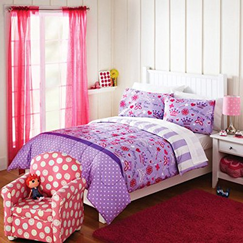 Pretty Princess Reversible Comforter & Sham Set- Purple & Pink (Full/Queen) (Queen Size Pink Princess Bedding)