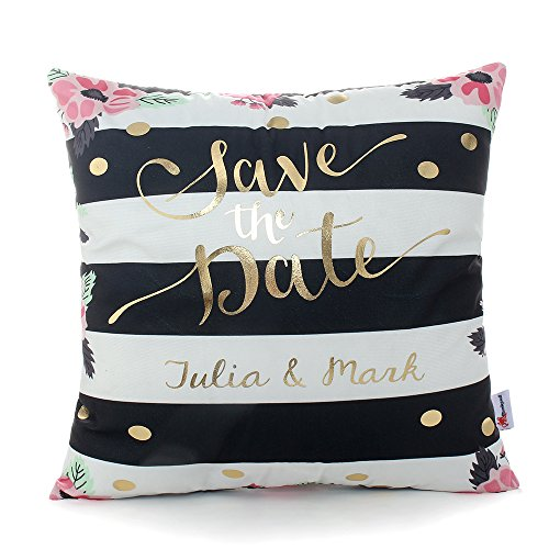 Monkeysell Bronzing Gold pillow flannelette Home Pillowcases Throw Pillow Cover Cushion Waist lumbar pillow Black and white stripes letter pattern design (18 18 inches without the inside, S148B13)
