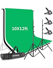 Neewer 8.5x10feet/2.6x3 Meters Background Stand Support System with 10x12ft/3x3.6M Backdrop (White,Black,Green) and Carry Bag for Photo Studio Portrait, Product Photography and Video Shooting
