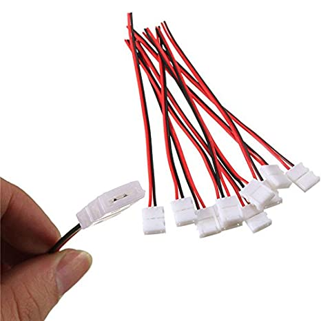 10pcs conector Cable adaptador LED PCB tira 10 mm sin soldadura conector para 3528 tira de luces LED con 2 pines: Amazon.es: Electrónica