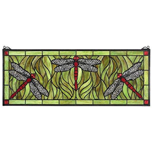 Design Toscano Emerald Green Dragonfly Tiffany-Style Stained Glass Window (Dragonfly Tiffany Window)