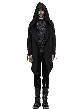 8a1d73e1bdfa Punk Rave Schwarz Gothic Kapuzen Mäntel Lässige Jacke für Herren  Amazon.de   Bekleidung