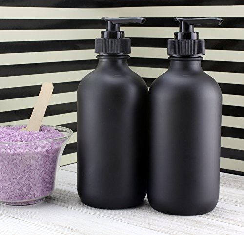 65484a54bdc5 Cornucopia Brands Black Coated 8-Ounce Glass Pump Bottles (4-Pack), Black  Plastic Pump Nozzles Included; Great for Lotions, Liquid Soap Dispenser &  ...