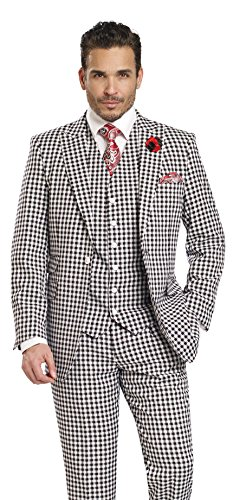 EJ Samuel 3 Piece Check Dress Style Mens Black and White Suit M2703-BLACK-48R