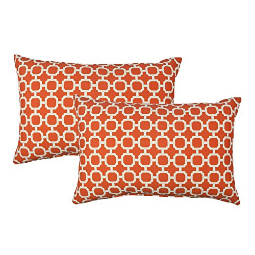 Sherry Kline Hockley B.Orange Indoor/Outdoor Boudoir Pillow (Set of 2)