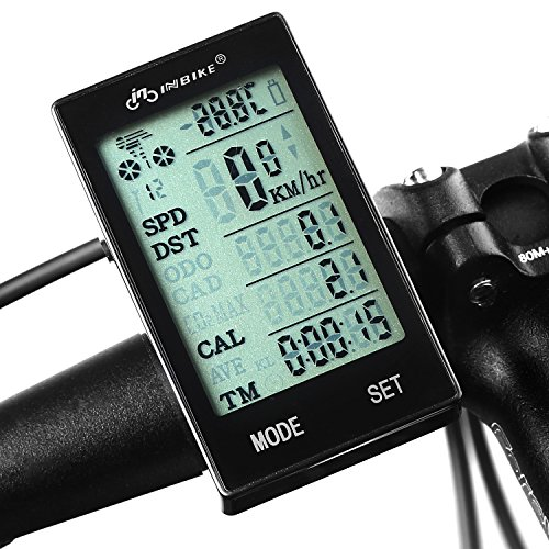 INBIKE Waterproof Cycling Computer Wireless Bicycle Odometer Smart Speedometer Bike Stopwatch with LCD Backlight Green (Green Cycling Computer compare prices)