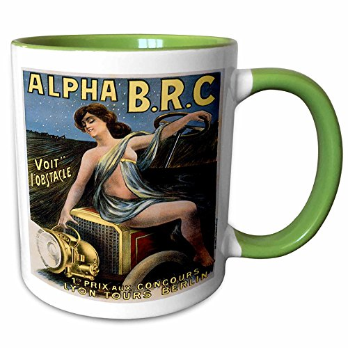 3dRose BLN Vintage Automobiles and Racing - Vintage Alpha B.R.C. Lyon Tours Berlin Advertising Poster - 15oz Two-Tone Green Mug (mug_130191_12) ()