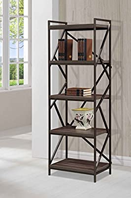 Imagio Home Lifestyles STUDIO Living Collection, Metal/Wood 5-Tier Shelf, Weathered Dark Gray Finish