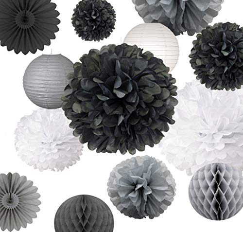 AVAbay 18 pcs Party Tissue Decoration Set for Birthday, Baby Shower,Wedding- Black Shades Décor-12, 10