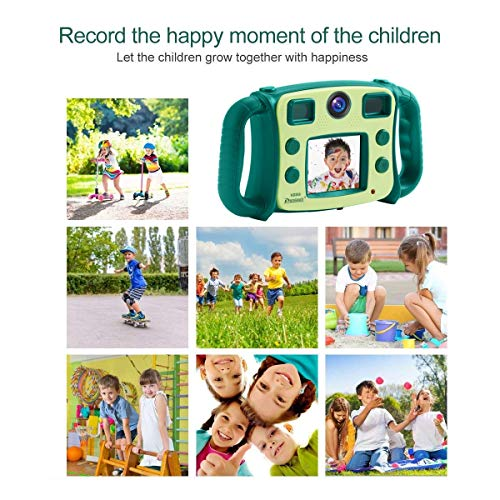 """PROGRACE Kids Camera Dual Selfie Camera 1080P HD Video Recorder Digital Action Camera Camcorder for Boys Girls Gifts 2.0"""" LCD Screen with 4X Digital Zoom and Funny Game(Green)"""