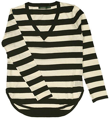 Lauren Ralph Lauren Plus Silk-Blend V-Neck Sweater (1X, Black/Milk Striped) ()