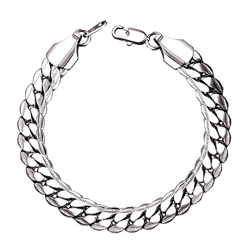 U7 Men Rock Hip Hop Bracelet Platinum Plated 9MM Wide Thick Chain Link Bracelets - 8.3 Inches