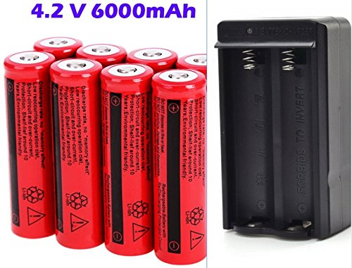 - SilverityUS Hot Sale 8Pcs 18650 6000mAh 4.2V Li-ion Batteries + 2 Slot AC Charger | Rechargeable Li-ion Battery for LED Flashlight Torch Light Heads Lamp - Up to 1000 cycles | US Stock