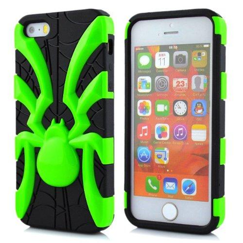 5s Case, iPhone 5s cas, Lantier 2 en 1 Araignée cool Goutte antichoc Preuve Heavy Duty robuste souple Armure Etui en silicone pour Apple iPhone 5 iPhone 5s Vert