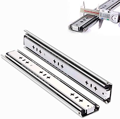 L Kcbty 2 Pieces Drawer Runners 53 Wide Bearing Slides Full Extension Kitchen Cabinet Drawer 12 Inch Heavy Duty Ball Bearing Slides120kg Load Capacity