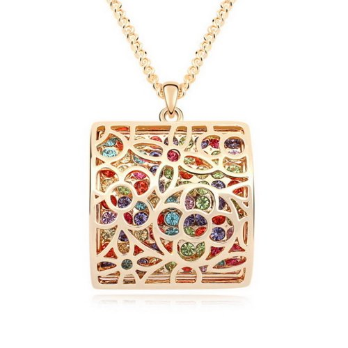 Alvdis Premium Square Shaped Color Crystal Long Sweater Chain Necklace Alloy Pendant - Elegant & Classy Design