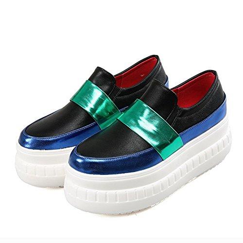 Amoonyfashion Womens Assorted Color Hoge Hakken Pull On Ronde Gesloten Teen Pumps-schoenen Blauw