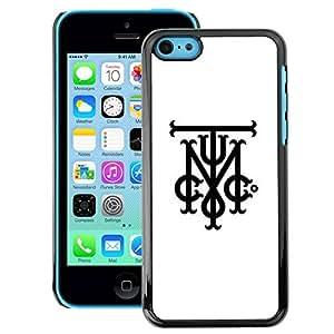 A-type Arte & diseño plástico duro Fundas Cover Cubre Hard Case Cover para iPhone 5C (T M Tmi C Initials Letters White Black)