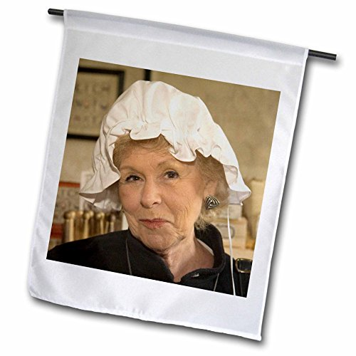 3dRose fl_95084_1 Woman in Hair Bonnet, Williamsburg, Virginia-US47 JME0103-John and Lisa Merrill Garden Flag, 12 by (Colonial Costume Williamsburg)