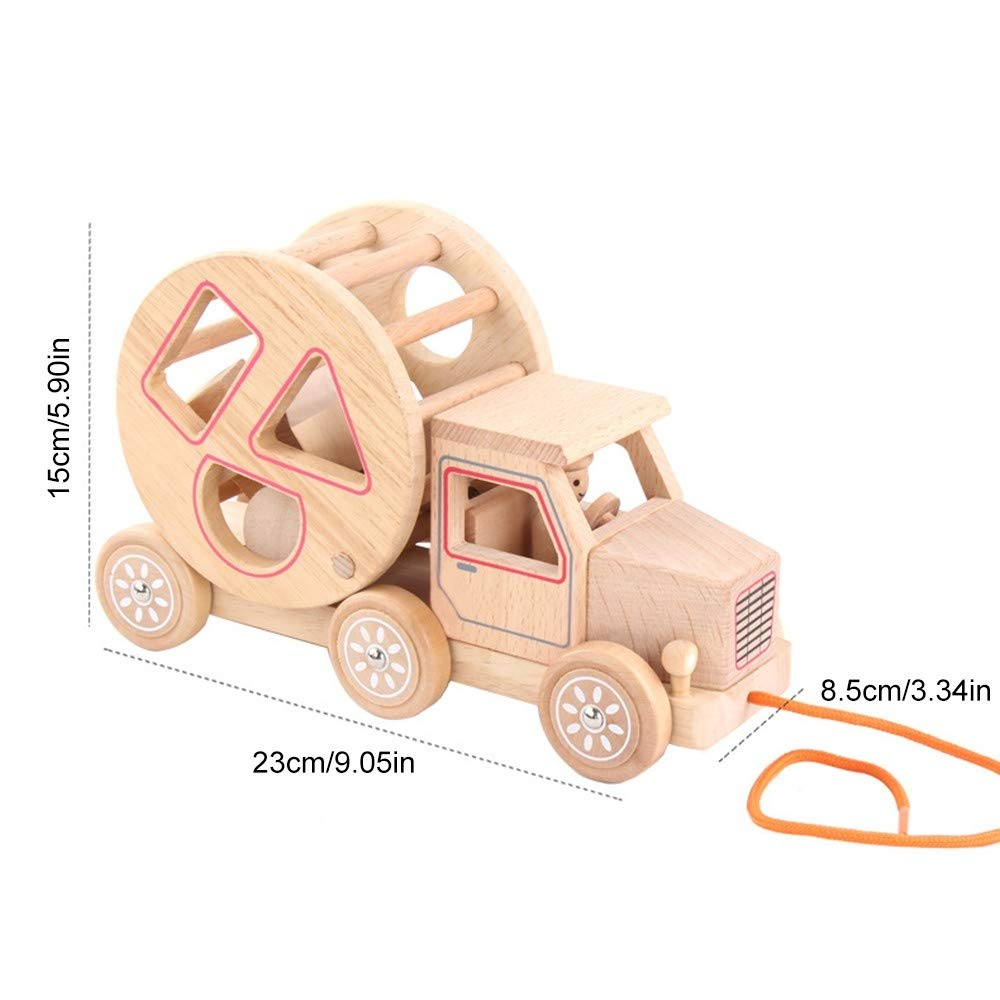 Pull Along Toy Wooden Pull Toy Early Education Building Block Toy Geometric Shape Car for Girl Boy Learning Toy
