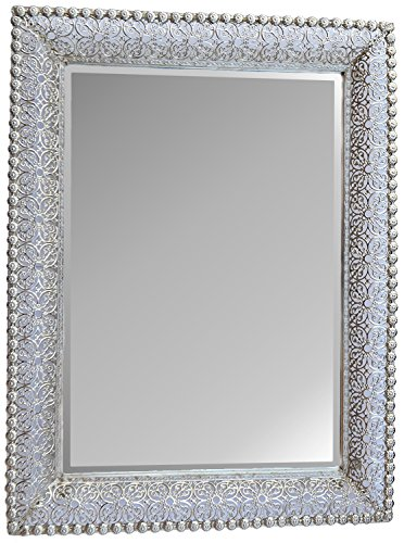 "Lulu Decor, Lacy Silver Metal Beveled Wall Mirror Frame Size 30"" x 22"" (Lacy Rectangle)"