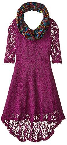 Emily West Big Girls' 2 Piece Set Purple Lace Hi-Low Dress with Infinity Scarf, Purple, (Girls Hi Low Dress)