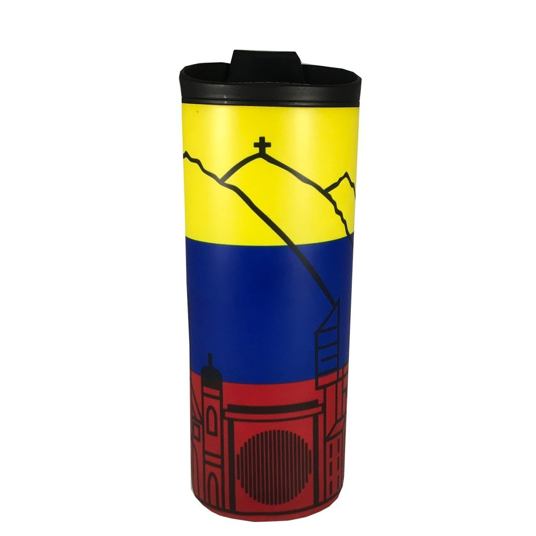 costablue venezuela vacuum insulated stainless steel 16 ounces travel mug easy to clean and leak proof lid colors of the venezuelan flag with Icons from caracas.