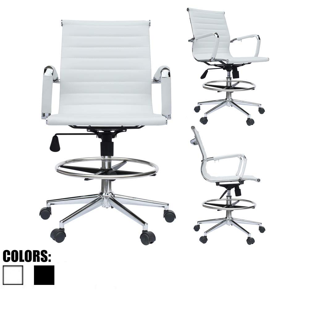 Modern Ergonomic PU Leather Mid Back Ribbed Drafting Office Chair with Chrome Armrest Foot Rest Tiltable Seat Rolling Chair White