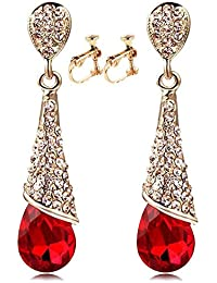 Vintage Austrian Crystal Tear Drop Dangle Clip on Earrings Screw Back Long Tassel Red for Girls Women