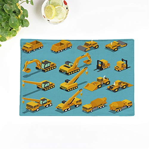 Topyee Set of 8 Placemats Flat 3D is ometric Construction Transport Set Include Excavator Crane Grader Cement 17x12.5 Inch Non-Slip Washable Place Mats for Kitchen Dinner Table Mats Parties Decor from Topyee