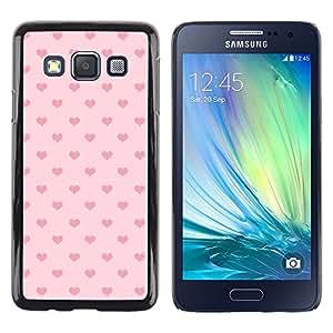 Corazón rosado del lunar Amor Patrón - Metal de aluminio y de plástico duro Caja del teléfono - Negro - Samsung Galaxy A3