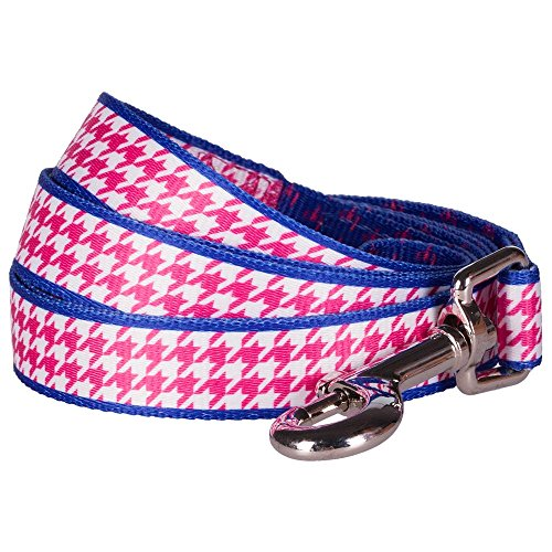 Blueberry Pet Durable Classy Houndstooth Statement Dog Leash 5 ft x 5/8
