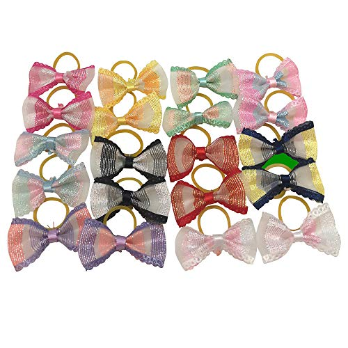Chenkou Craft New 40pcs(20pairs) Tinny Dog Hair Bow Ribbon 40mm Pet Grooming Products Mix Colors Varies Patterns Pet Hair Bows (Mix, Organza with Rubber Band)