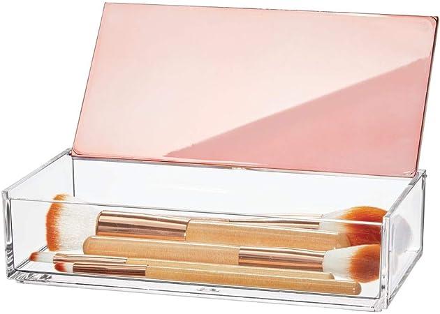 mDesign Caja de maquillaje pequeña con tapa – Organizador de ...