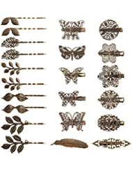 Hapdoo 22 Pack Vintage Hair Clips Barrettes Bronze Leaf Bobby Pin Flower Butterfly Heart Hair Clip for Girls and Women, 22 Pieces