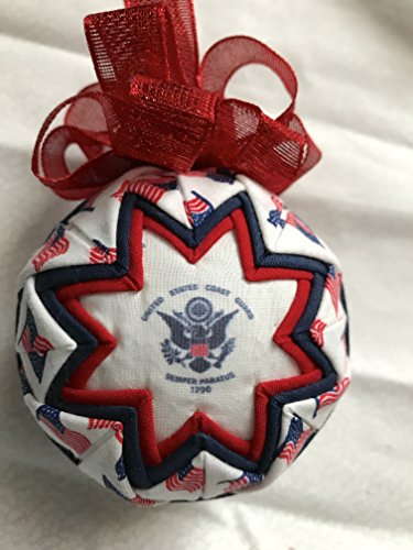 Coast Guard fabric Quilted Ornament Ball