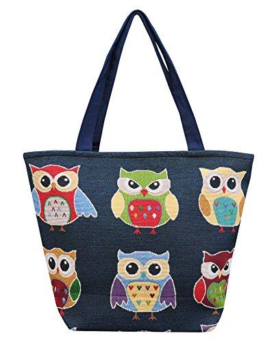 Borsetta borsa da spiaggia, shopping, importata da Tailandia, multicolore, motivi Gufi (42270)