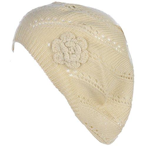 BYOS Chic Parisian Style Lightweight Crochet Beret Beanie Hat W/Flower Adornment,More Styles (Swirl Cream) -