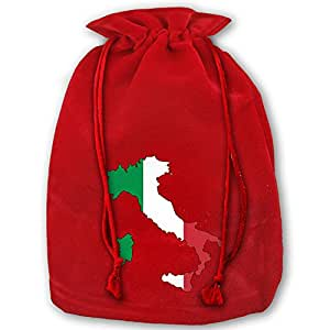 Italy Flag Map Christmas Drawstring Gift Sacks Bag Santa's Gift Sack Perfect Santa Sack Holiday Party Christmas Favor Gift Bags (Red)
