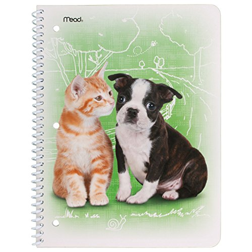 Mead Notebook, 1 Subject, Wide Ruled Paper, Stickers, Purrs & Grrrs, Design Will Vary (07036) by Mead