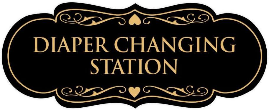 Black Signs ByLITA Designer Diaper Changing Station Sign Large
