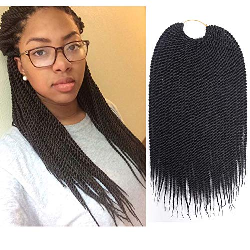 Braided Hair - Refined 7Packs 16inch 30stands/pack Senegalese Twist Crochet Braids Avaliable for Black Women High Temperature Fiber Synthetic Braiding Hair Extensions (16inch, 1B)