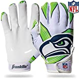 Franklin Sports Seattle Seahawks Youth NFL Football Receiver Gloves – Receiver Gloves For Kids – NFL Team Logos and Silicone Palm – Youth M/L Pair