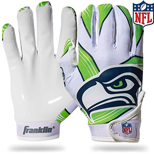 Franklin Sports NFL Seattle Seahawks Youth Football Receiver Gloves - Medium/Large -