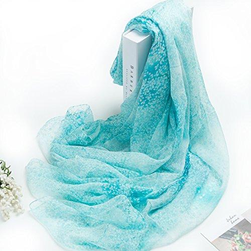 Rohommetic floral - bleu  KYXXLD Tous-Match Nouveau Ressort à Double Fine écharpe de Soie Longue écharpe d'hiver