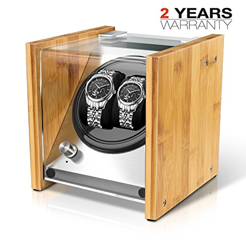 Watch Winder Box for Automatic Watches or Rolex Couple Size Double, Craftsmanship 100% Bamboo Wood Patent Housing Case, AC or Battery Powered Super Quiet Japanese Motor by Watch Winder Smith® (Watch Winders Rolex)