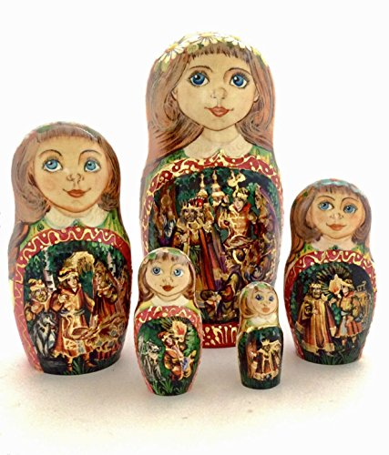Unique Russian Nesting dolls Fairy Tale Firebird Hand painted set Home decor Art Handcrafted