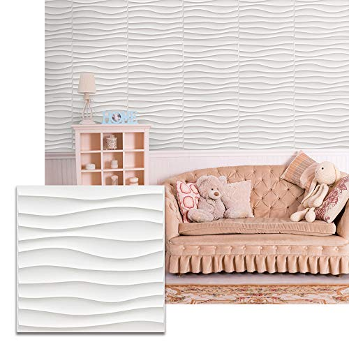 Urban Decor - Easy Peel & Stick Wall Puzzle, 3D Decorative Panels with Double-Sided Tape, Wall Decor for Home and Business (12pcs, 32sqft/Box) (Wave)